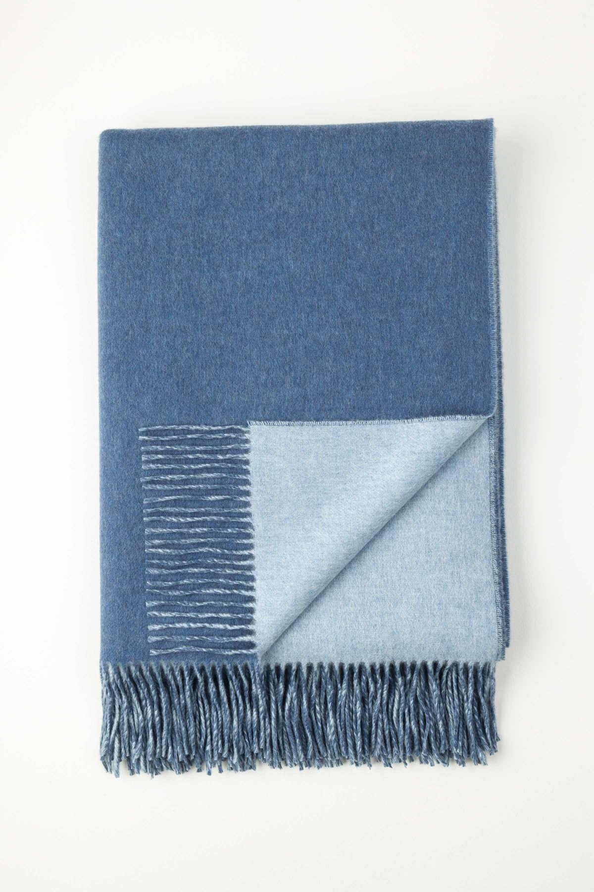 Johnston's of Elgin Cashmere Reversible Throw - Blue