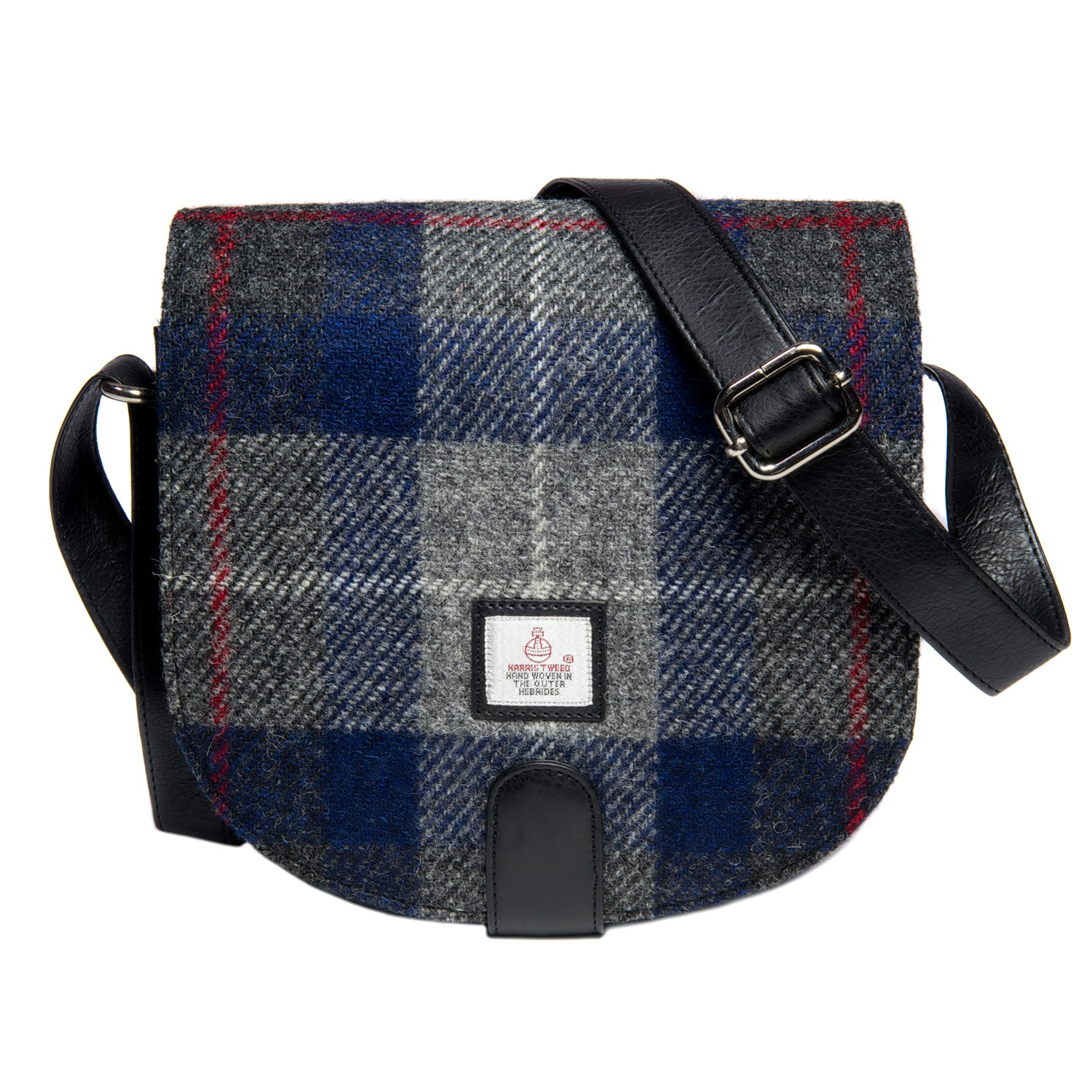 Maccessori Harris Tweed Small Cross Body Saddle Bag in Blue Check