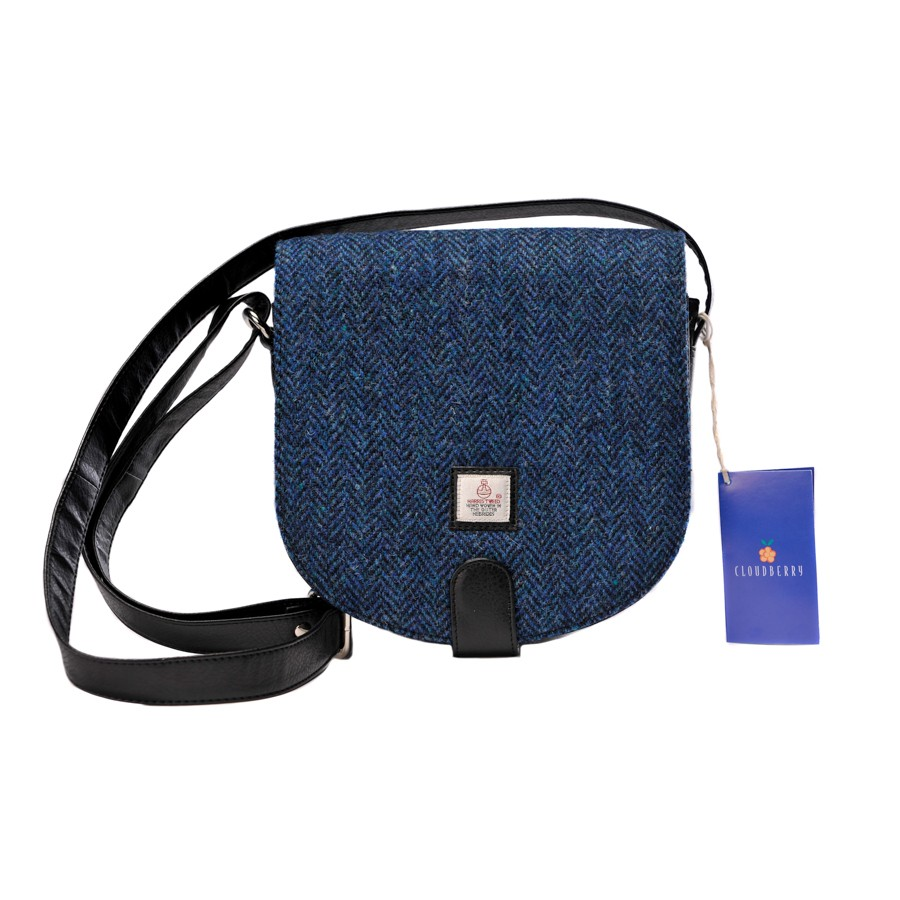 Maccessori Harris Tweed Small Cross Body Saddle Bag in Blue