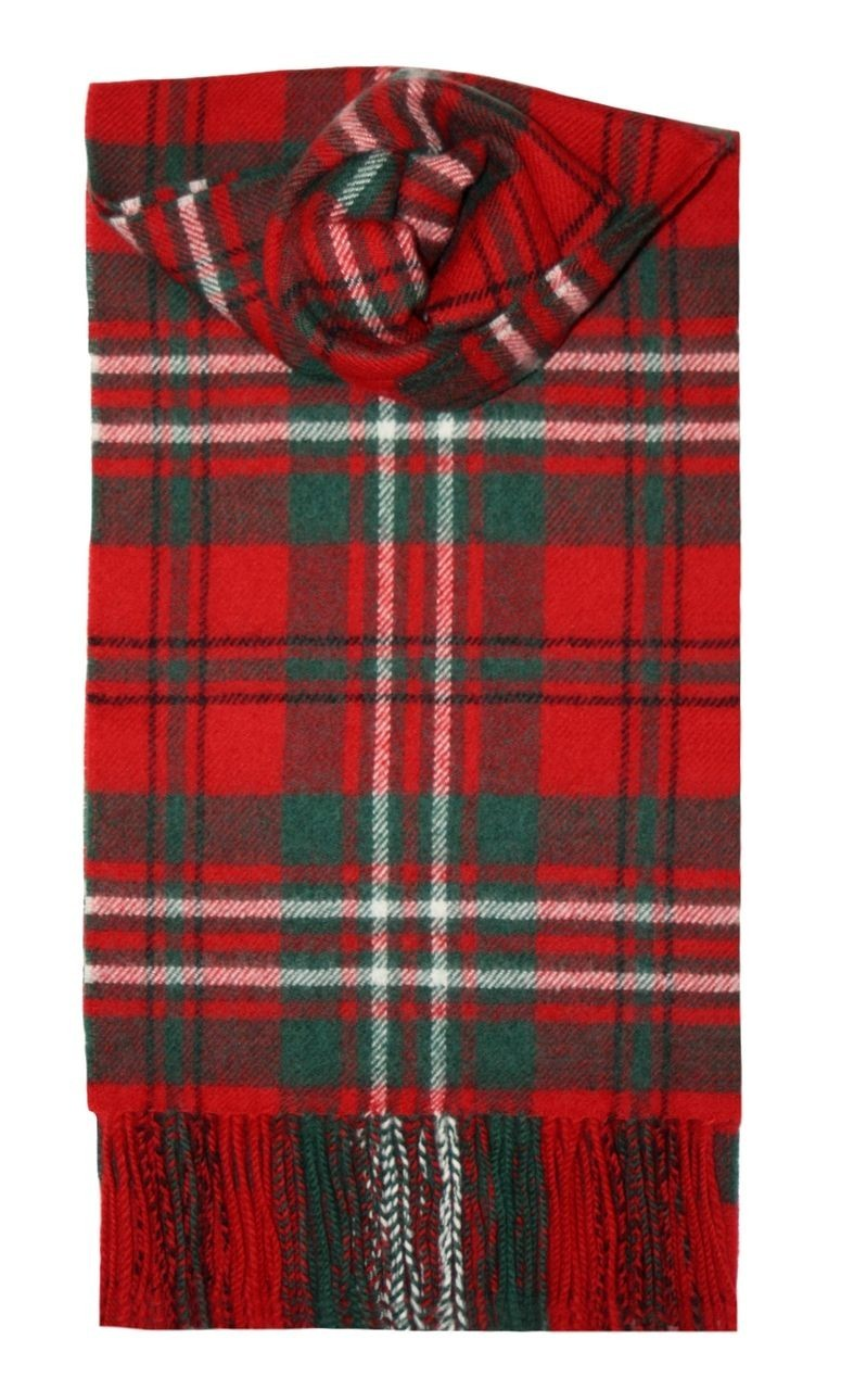 Scott Red Modern Tartan 100% Lambswool Scarf by Lochcarron