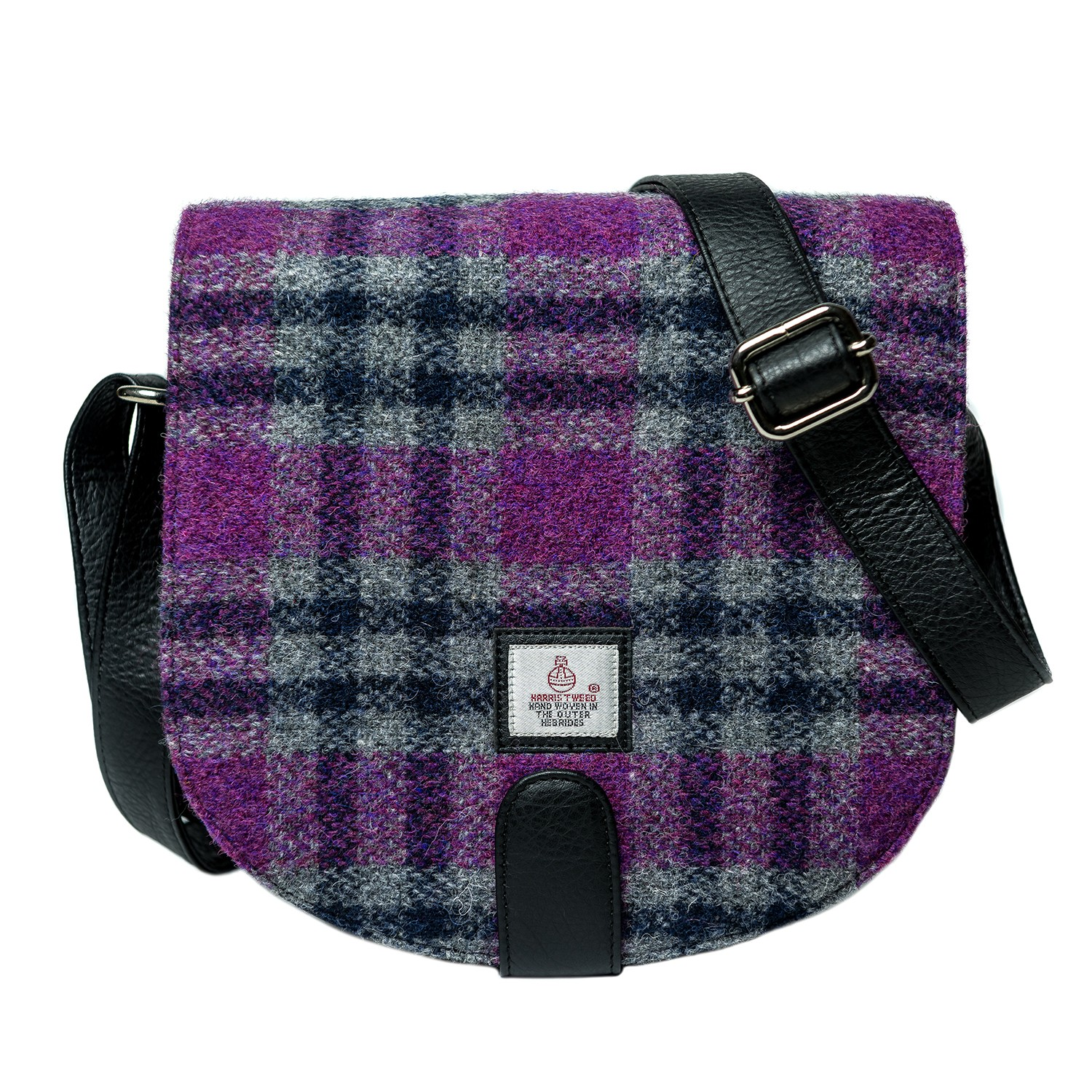 Maccessori Harris Tweed Small Cross Body Saddle Bag in Pink Check