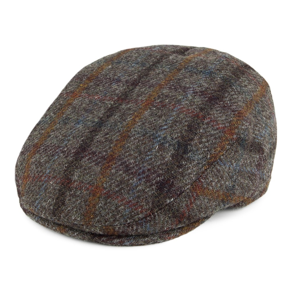 Failsworth Stornoway Flat Cap in Brown Tartan Check 7020 Harris Tweed