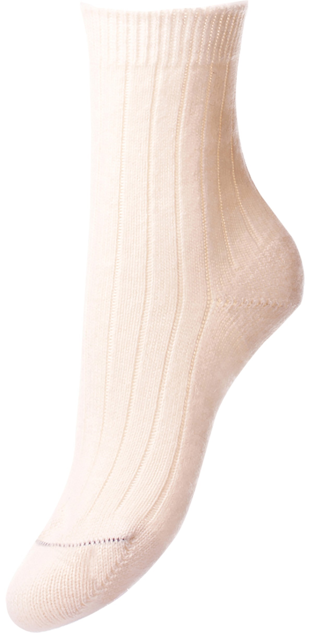 Pantherella Women's Tabitha Cashmere Ribbed Anklet Socks in Winter White