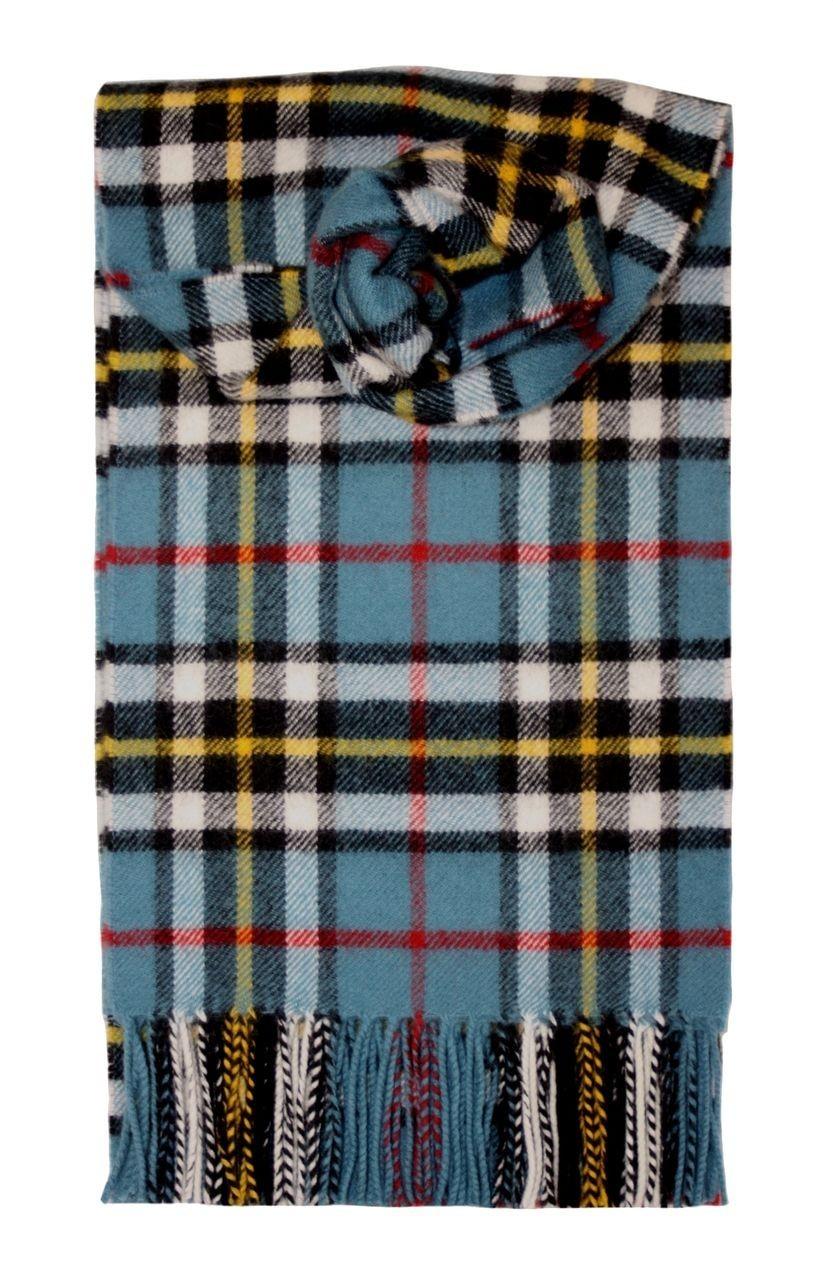 Thompson Blue Tartan 100% Lambswool Scarf by Lochcarron
