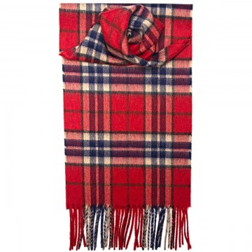 Thompson Red Tartan 100% Cashmere Scarf by Lochcarron of Scotland