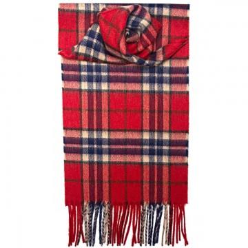 Thompson Red Tartan 100% Cashmere Scarf by Lochcarron of Scotland