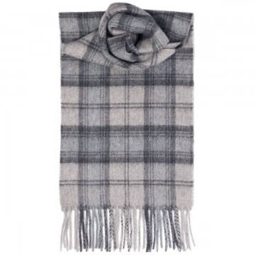 Lindsay Grey Tartan 100% Cashmere Scarf by Lochcarron of Scotland