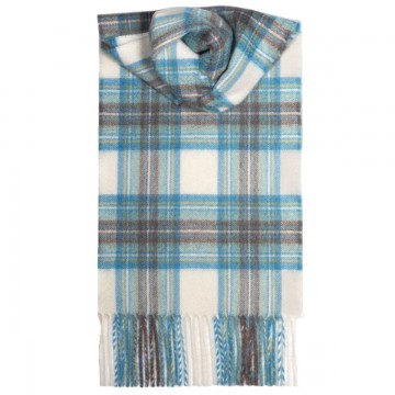 Stewart Dress Blue Tartan 100% Cashmere Scarf by Lochcarron of Scotland