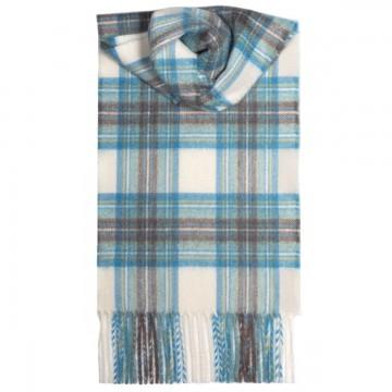 Stewart Dress Blue Tartan 100% Cashmere Scarf by Lochcarron of Scotland