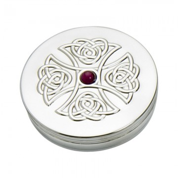 Edwin Blyde Celtic Collection 90mm Trinket Box Amethyst Cross