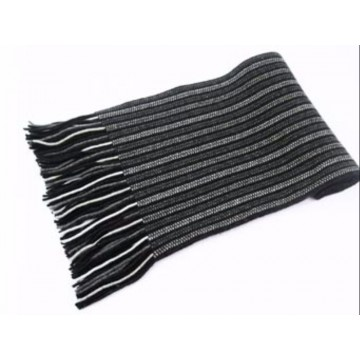 Grey Stripes 2 Ply Cashmere Scarf from The Scarf Company - Made in Scotland