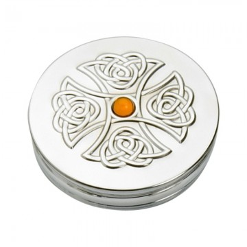 Edwin Blyde Celtic Collection Trinket Box Topaz Cross