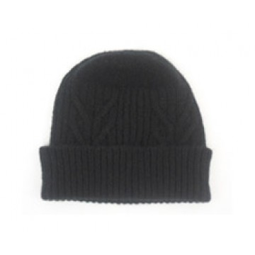 The Scarf Company 100% Cashmere 3 Ply Hat - Black Cable