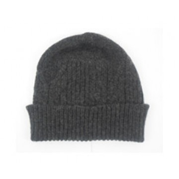 The Scarf Company 100% Cashmere 3 Ply Hat - Charcoal Cable