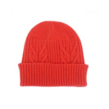 The Scarf Company 100% Cashmere 3 Ply Hat - Orange Cable