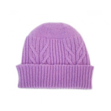 The Scarf Company 100% Cashmere 3 Ply Hat - Purple Cable