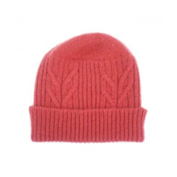 The Scarf Company 100% Cashmere 3 Ply Hat - Red Cable