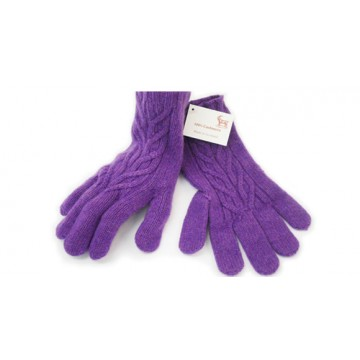 The Scarf Company Tyre Purple Cashmere 3 Ply Ladies' Cable Knit Gloves