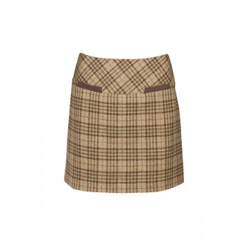 Clover Tweed Mini Skirt in Pebble by Dubarry