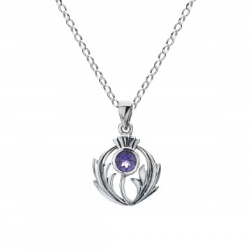 Scottish Thistle Amethyst Round Sterling Silver Pendant Necklace