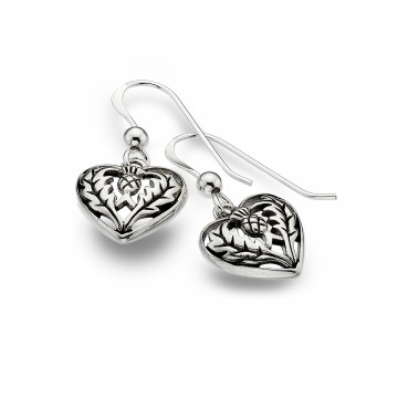 Celtic Thistle & Heart Sterling Silver Earrings