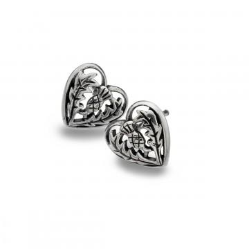 Celtic Thistle Heart Sterling Silver Stud Earrings