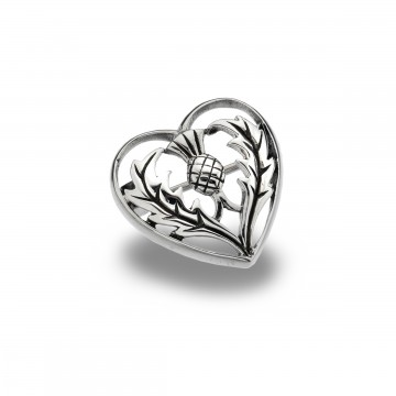 Celtic Thistle Heart Sterling Silver Brooch