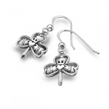 Celtic Shamrock & Claddagh Sterling Silver Earrings