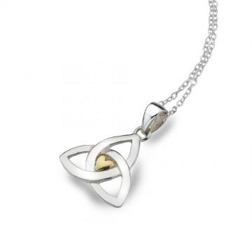 Celtic Trinity Knot & Brass Heart Sterling Silver Pendant Necklace