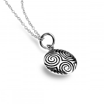 Celtic Scrolls Round Sterling Silver Pendant Necklace