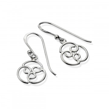 Celtic Spiral Round Sterling Silver Earrings