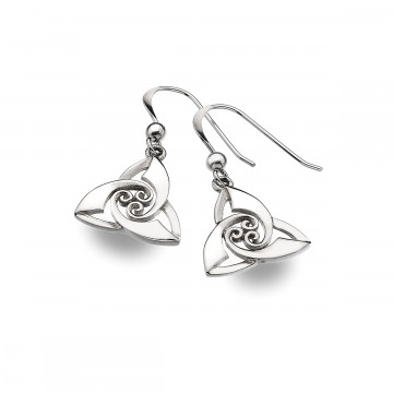 Celtic Trinity Knot & Spirals Sterling Silver Earrings