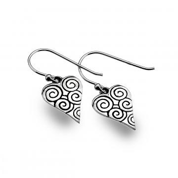 Celtic Heart & Spirals Sterling Silver Earrings