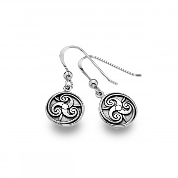 Celtic Triskele Round Solid Sterling Silver Earrings