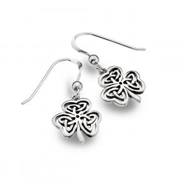 Celtic Shamrock Knotwork Sterling Silver Earrings