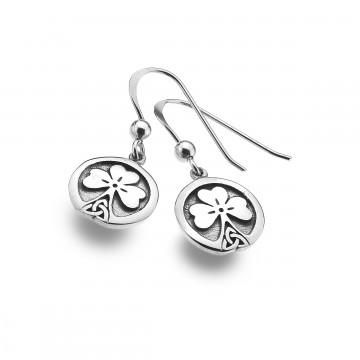 Celtic Shamrock & Knot Stem Sterling Silver Earrings