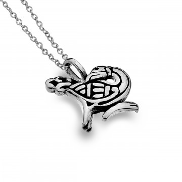 Celtic Bird Sterling Silver Pendant Necklace
