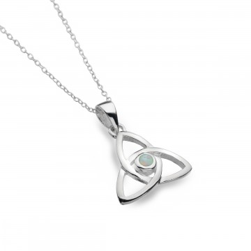 Celtic Trinity Knot Opal Sterling Silver Pendant Necklace