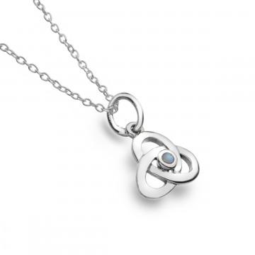 Celtic Knot Opal Sterling Silver Pendant Necklace
