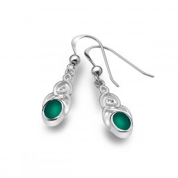Celtic Knotwork & Green Agate Sterling Silver Earrings