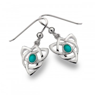 Celtic Knot & Turquoise Triangular Sterling Silver Earrings