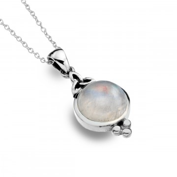 Celtic Trinity Moonstone & Balls Sterling Silver Pendant Necklace
