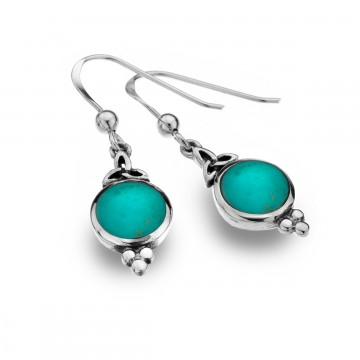 Celtic Trinity & Turquoise Balls Sterling Silver Earrings