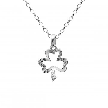 Irish Shamrock Sterling Silver Pendant Necklace
