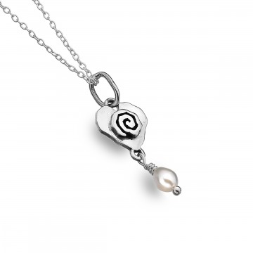 Celtic Heart & Scroll Pearl Sterling Silver Pendant Necklace