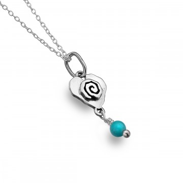 Celtic Heart & Scroll Turquoise Sterling Silver Pendant Necklace
