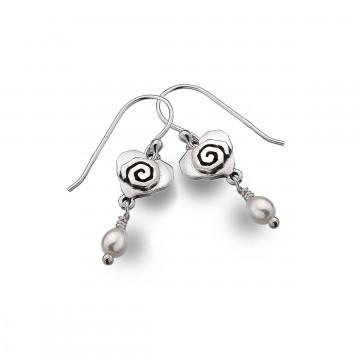 Celtic Heart & Scroll Pearl Sterling Silver Earrings