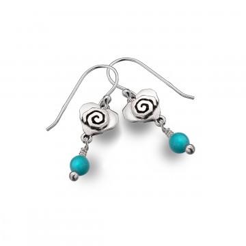 Celtic Heart & Scroll Turquoise Sterling Silver Earrings