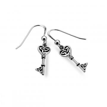 Celtic Heart & Key Sterling Silver Earrings