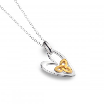 Celtic Trinity Knot Heart Sterling Silver Pendant Necklace